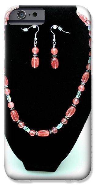 Little Jewelry iPhone Cases - 3570 Cherry Quartz Czech Glass Set iPhone Case by Teresa Mucha