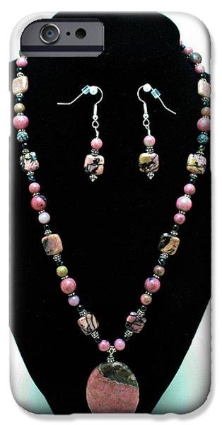 Stones Jewelry iPhone Cases - 3571 Rhodonite Set iPhone Case by Teresa Mucha