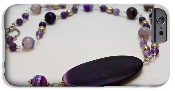 Stones Jewelry iPhone Cases - 3573 Banded Agate Necklace  iPhone Case by Teresa Mucha