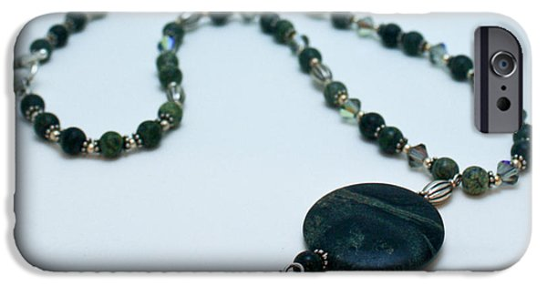 Sterling Silver iPhone Cases - 3577 Kambaba and Green Lace Jasper Necklace iPhone Case by Teresa Mucha