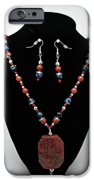 Red Jewelry iPhone Cases - 3578 Jasper and Agate Long Necklace and Earrings Set iPhone Case by Teresa Mucha