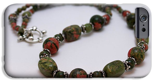 Stones Jewelry iPhone Cases - 3579 Unakite Necklace  iPhone Case by Teresa Mucha