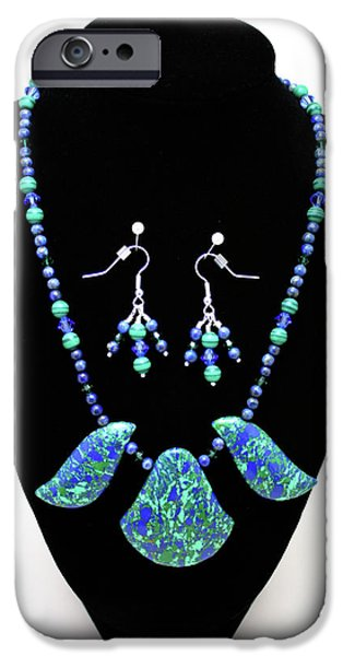 Stones Jewelry iPhone Cases - 3582 Lapis Lazuli Malachite Necklace and Earring Set iPhone Case by Teresa Mucha