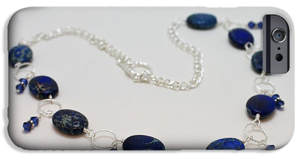 Sterling Silver iPhone Cases - 3589 Blue Sea Sediment Jasper Necklace iPhone Case by Teresa Mucha