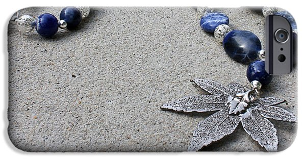 Ocean Jewelry iPhone Cases - 3593 Sodalite and Silver Necklace with Japanese Maple Leaf Pendant  iPhone Case by Teresa Mucha