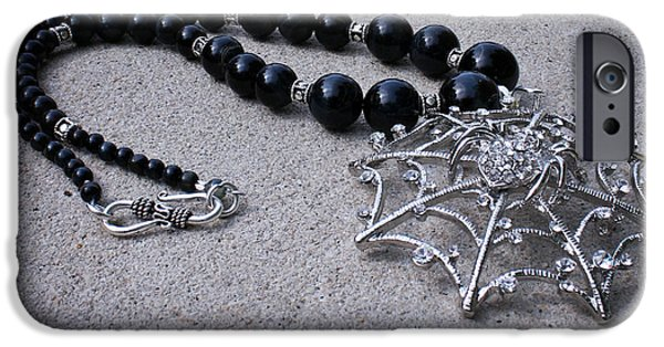 Handmade Jewelry Jewelry iPhone Cases - 3596 Spiderweb Rhinestone Pendant Necklace iPhone Case by Teresa Mucha