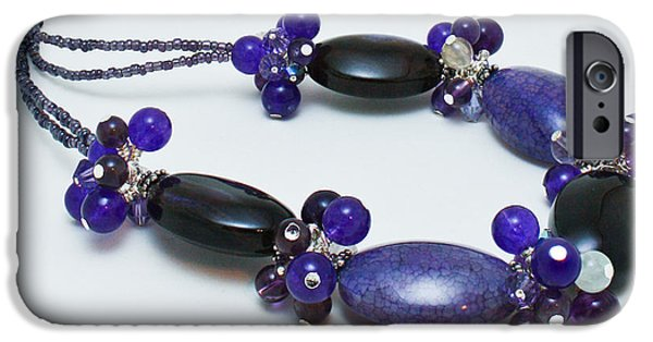 Sterling Silver iPhone Cases - 3598 Purple Cracked Agate Necklace iPhone Case by Teresa Mucha