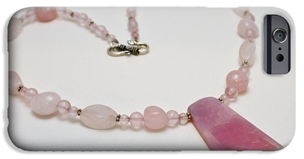 Sterling Silver iPhone Cases - 3604 Rose Quartz and Agate Pendant Necklace iPhone Case by Teresa Mucha