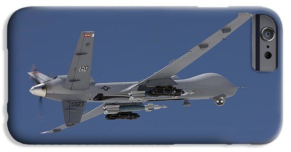 Flight iPhone Cases - An Mq-9 Reaper Flies A Training Mission iPhone Case by HIGH-G Productions