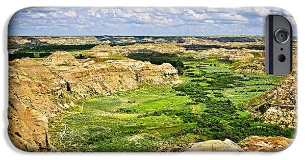 River View iPhone Cases - Badlands in Alberta iPhone Case by Elena Elisseeva