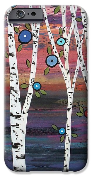 Tree Art Print Paintings iPhone Cases - 4 Birches iPhone Case by Karla Gerard