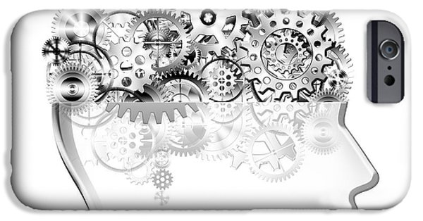 Industrial Concept iPhone Cases - Brain Design By Cogs And Gears iPhone Case by Setsiri Silapasuwanchai