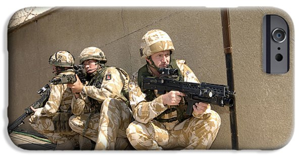 Iraq iPhone Cases - British Troops Training In Iraq iPhone Case by Andrew Chittock