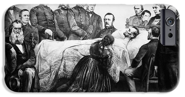 First Lady iPhone Cases - Death Of Lincoln, 1865 iPhone Case by Granger