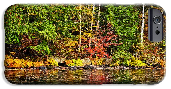 Autumn iPhone Cases - Fall forest and river landscape iPhone Case by Elena Elisseeva