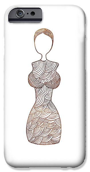 Abstract Fashion Art iPhone Cases - Fashion sketch iPhone Case by Frank Tschakert