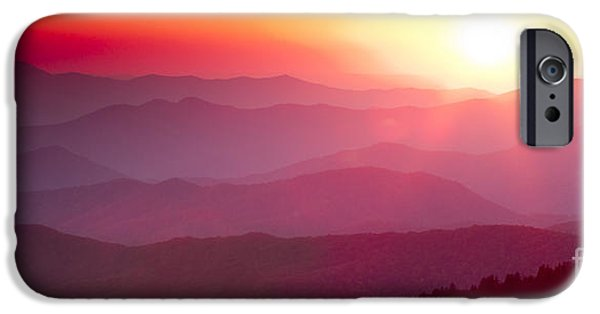 Amazing Sunset iPhone Cases - Great Smokie Mountains Sunset iPhone Case by Dustin K Ryan