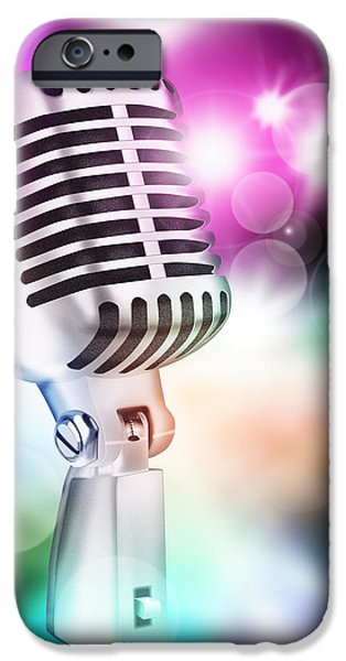 microphone on stage iPhone Case by Setsiri Silapasuwanchai