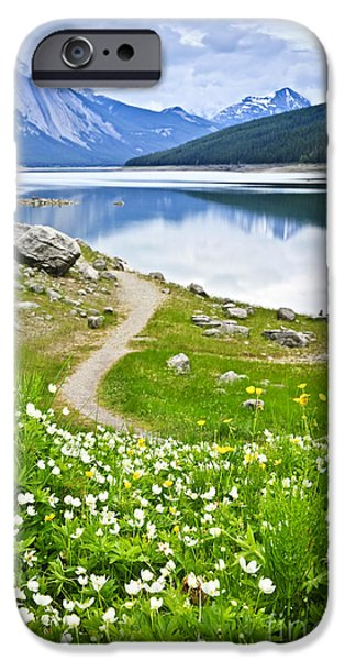 Paths iPhone Cases - Mountain lake in Jasper National Park iPhone Case by Elena Elisseeva