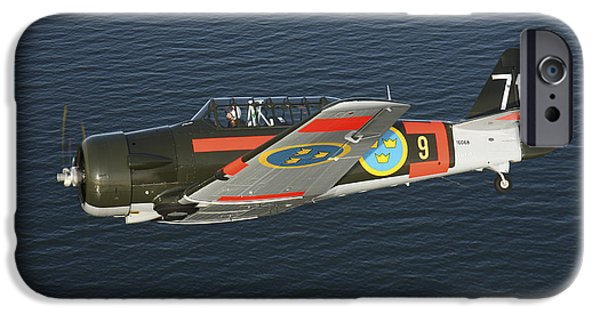 North American Aviation iPhone Cases - North American Aviation T-6 Texan iPhone Case by Daniel Karlsson