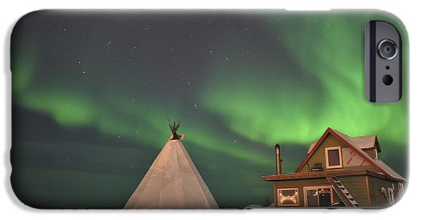Great Mysteries iPhone Cases - Northern Lights Above Village iPhone Case by Jiri Hermann