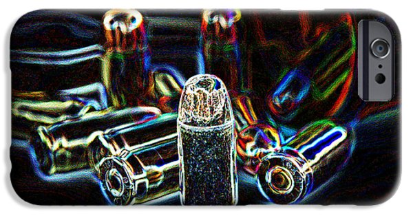 Colt 45 iPhone Cases - Pop Art of .45 cal bullets comming out of pill bottle iPhone Case by Michael Ledray