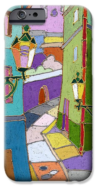 Pastel Colors iPhone Cases - Prague Old Street iPhone Case by Yuriy  Shevchuk