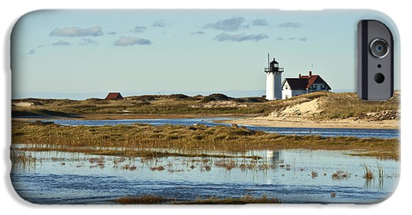 Salt Marsh. New England iPhone Cases - Race Point Lighthouse iPhone Case by John Greim