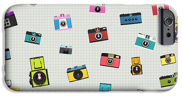 Sticker iPhone Cases - Retro Camera Pattern iPhone Case by Setsiri Silapasuwanchai