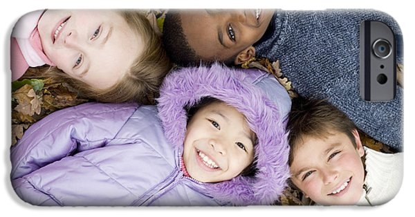 Best Sellers -  - Bonding iPhone Cases - Smiling Children Lying On Autumn Leaves iPhone Case by Ian Boddy