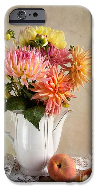 Concept Photographs iPhone Cases - Still Life with Dahila iPhone Case by Nailia Schwarz