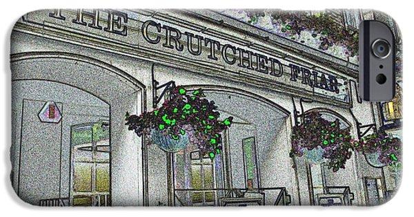 Crutch Digital Art iPhone Cases - The Crutched Friar Public House iPhone Case by David Pyatt