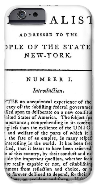 Constitution iPhone Cases - The Federalist, 1788 iPhone Case by Granger