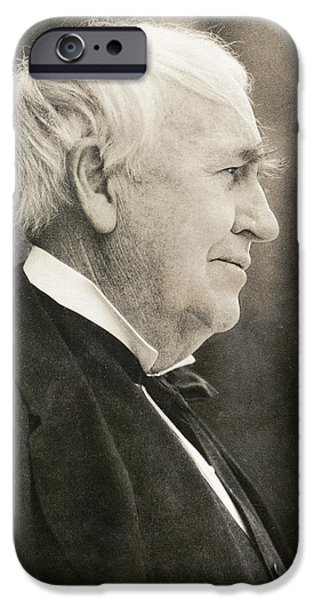 Thomas Alva Edison iPhone Cases - Thomas Edison, Us Inventor iPhone Case by Humanities & Social Sciences Librarynew York Public Library