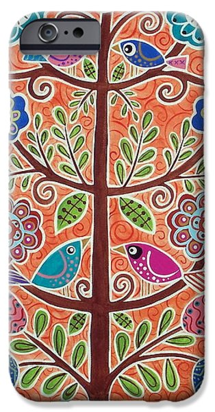 Tree Art Print iPhone Cases - 4 Tree Birds iPhone Case by Karla Gerard