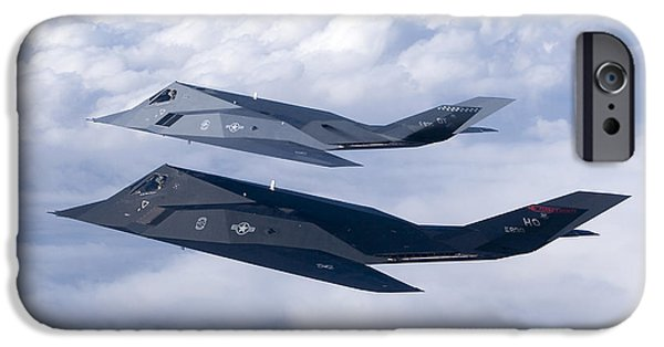 Cooperation iPhone Cases - Two F-117 Nighthawk Stealth Fighters iPhone Case by HIGH-G Productions