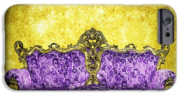 Antiques iPhone Cases - Victorian Sofa In Retro Room iPhone Case by Setsiri Silapasuwanchai