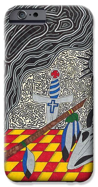Simplicity Drawings iPhone Cases - Native American Art iPhone Case by Jerry Conner