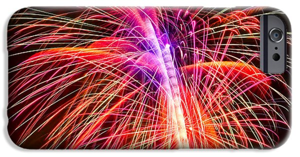 4th July Digital Art iPhone Cases - 4th of July - Independence Day Fireworks iPhone Case by Gordon Dean II