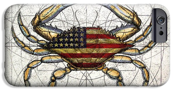 Patriotism iPhone Cases - 4th of July Crab iPhone Case by Charles Harden