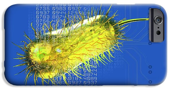 Circuit iPhone Cases - Bacterial Computing, Conceptual Artwork iPhone Case by Victor Habbick Visions