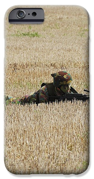 Belgian Paratroopers On Guard iPhone Case by Luc De Jaeger