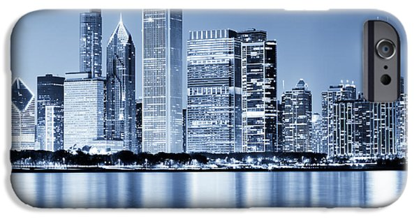 Shoreline iPhone Cases - Chicago Skyline at Night iPhone Case by Paul Velgos