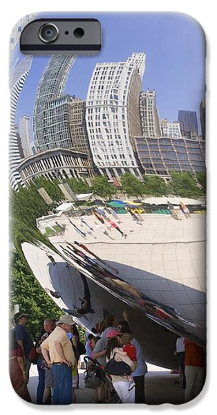 Stainless Steel iPhone Cases - Cloud Gate Sculpture In Chicago iPhone Case by Mark Williamson