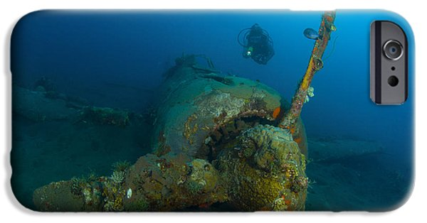 World War One iPhone Cases - Diver Explores The Wreck iPhone Case by Steve Jones