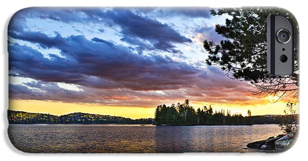 River View iPhone Cases - Dramatic sunset at lake iPhone Case by Elena Elisseeva