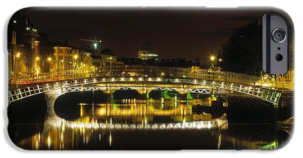 Reflections Of Sky In Water iPhone Cases - Hapenny Bridge, River Liffey, Dublin iPhone Case by The Irish Image Collection