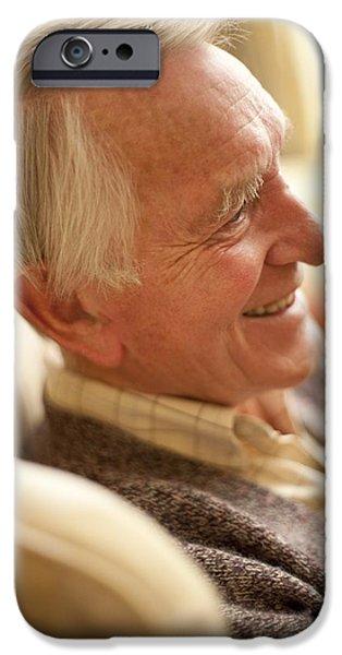 Senior Men iPhone Cases - Happy Senior Man iPhone Case by