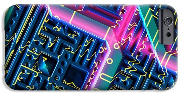 Circuit iPhone Cases - Microchip, Artwork iPhone Case by Mehau Kulyk