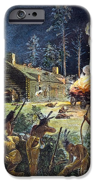 Wampanoag iPhone Cases - Native American Attack, 1675 iPhone Case by Granger